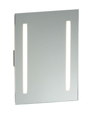 Mirrored glass & matt silver effect paint IP44 Bathroom Mirror Light + Shaver Socket 13885 by Endon